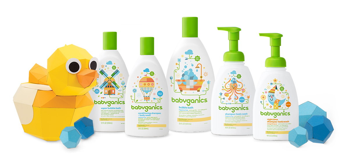 shampooing, savon liquide pour le corps et bain moussant babyganics sans larmes, non allergènes et testés par des pédiatres et des dermatologues