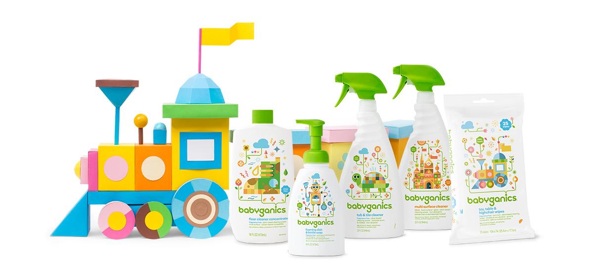 babyganics sûrs pour bébé, savon à vaisselle, savon en bouteille pour bébés, nettoyant à plancher, nettoyant multi surface, lingettes pour nettoyer les jouets, tables et chaises hautes