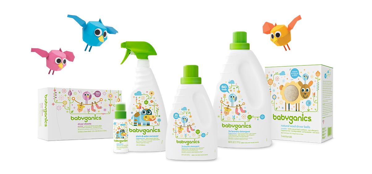 détergent à lessive, feuilles assouplissantes et effaceurs de taches pour bébé babyganics