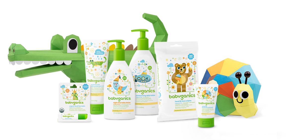 lotions, crèmes et lingettes pour bébé babyganics de soins pour la peau non allergènes et testés par des pédiatres et des dermatologues