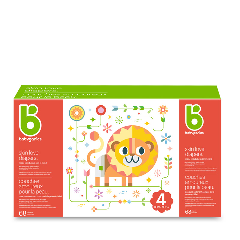 couches skin love diapers babyganics, taille4