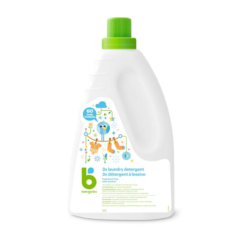 détergent à lessive trois fois plus puissant babyganics, sans parfum