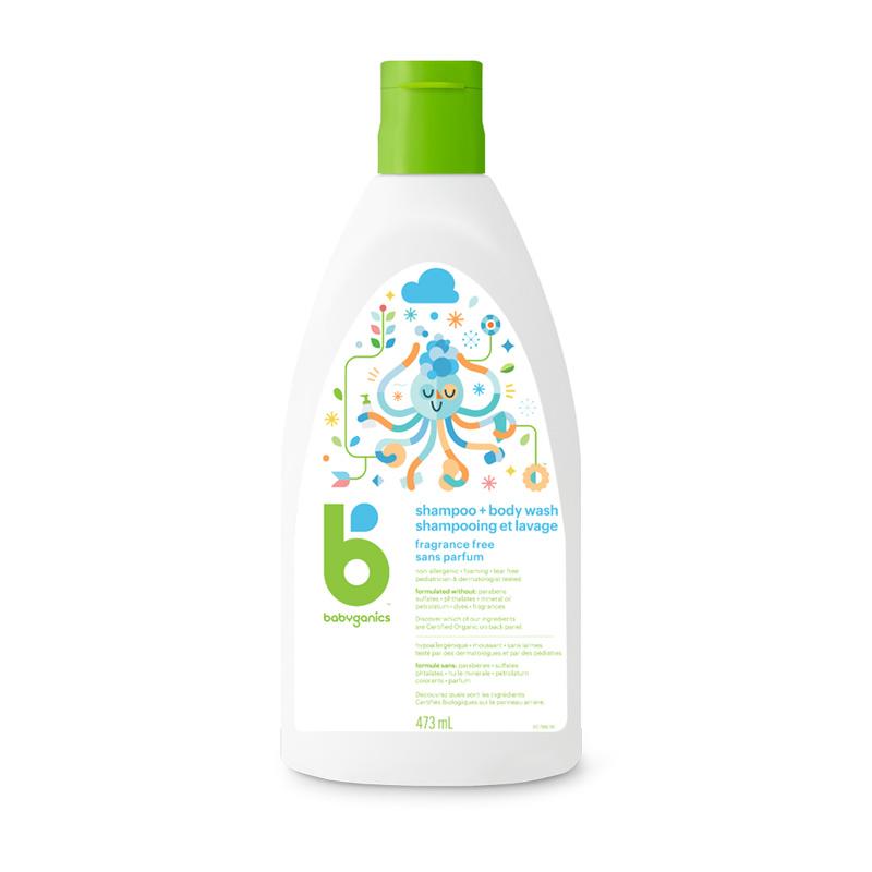 shampooing revitalisant corps et cheveux sans parfum babyganics