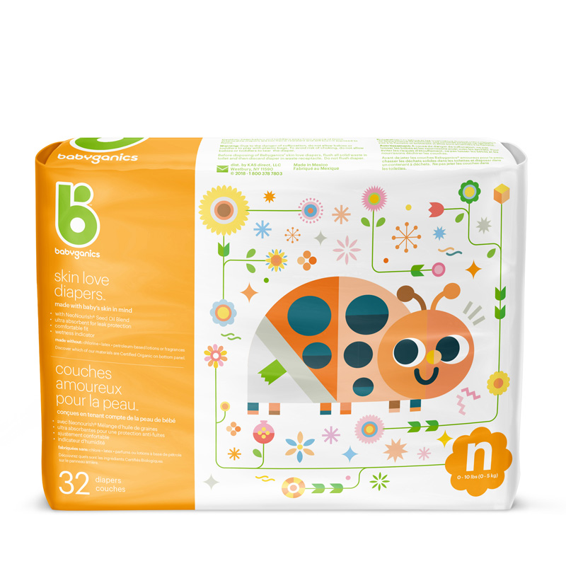 babyganics Skin Love Diapers, Size NB