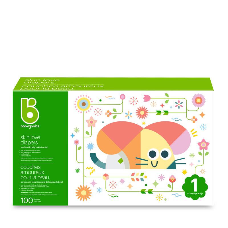 babyganics Skin Love Diapers, Size 1