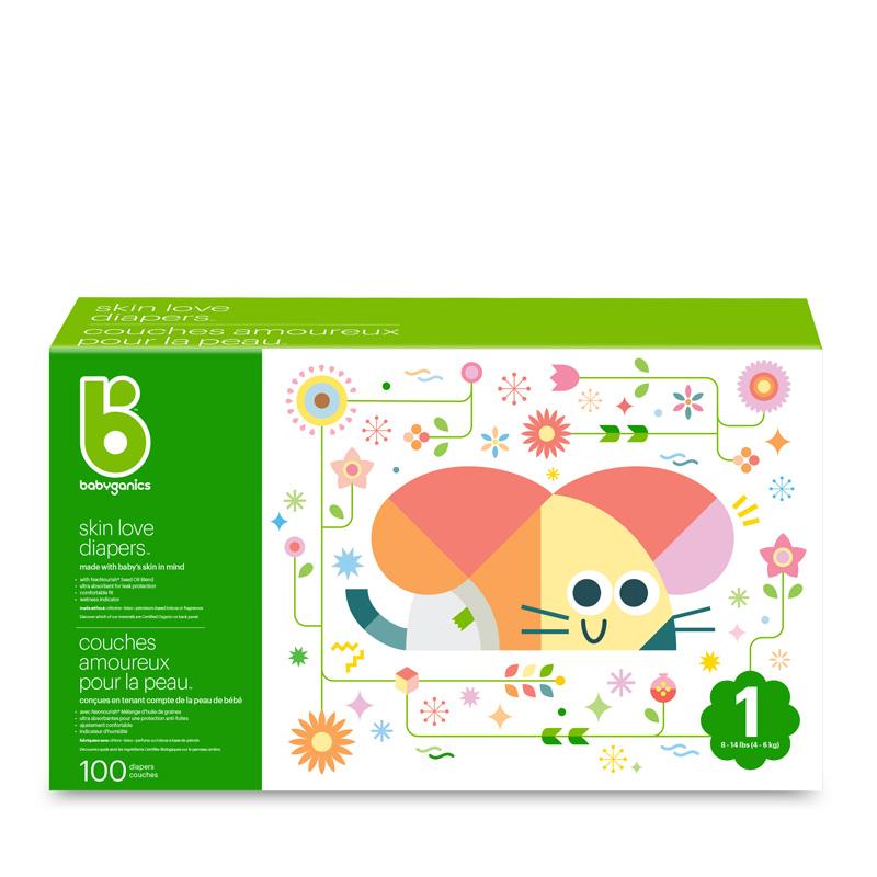 babyganics Skin Love Diapers, Size 1