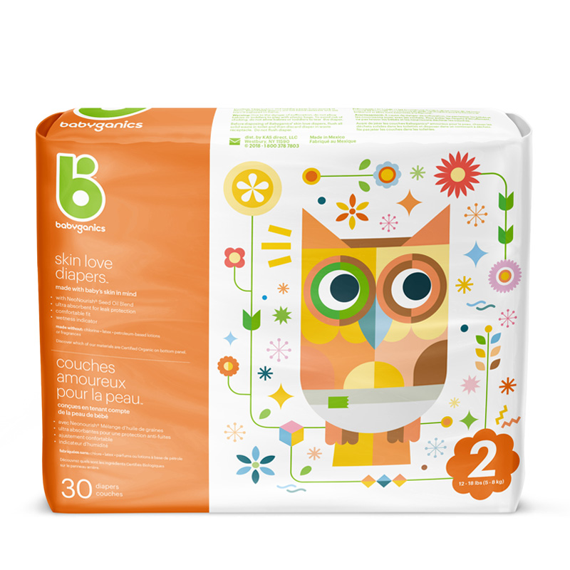 babyganics Skin Love Diapers, Size 2