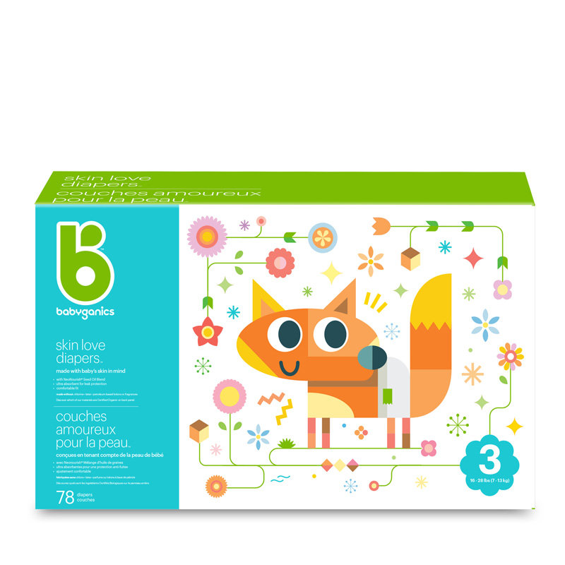 babyganics Skin Love Diapers, Size 3