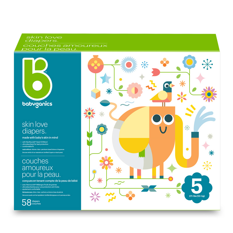 babyganics Skin Love Diapers, Size 5