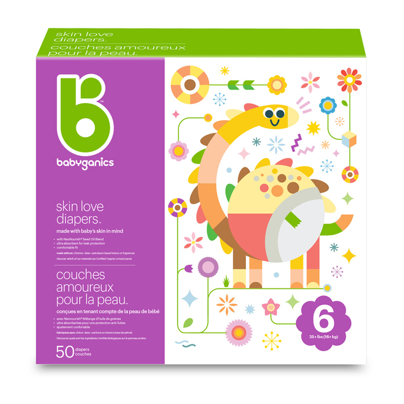 babyganics Skin Love Diapers, Size 6